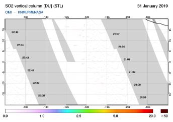OMI - SO2 vertical column of 31 January 2019