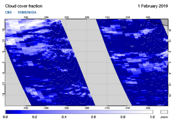 OMI - Cloud cover fraction of 01 February 2019
