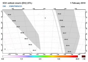 OMI - SO2 vertical column of 01 February 2019