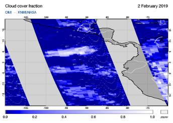 OMI - Cloud cover fraction of 02 February 2019