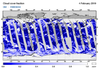 OMI - Cloud cover fraction of 04 February 2019