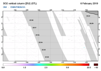 OMI - SO2 vertical column of 06 February 2019