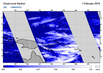 OMI - Cloud cover fraction of 07 February 2019