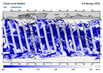 OMI - Cloud cover fraction of 08 February 2019