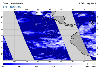 OMI - Cloud cover fraction of 09 February 2019