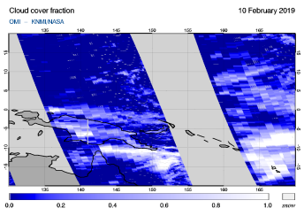 OMI - Cloud cover fraction of 10 February 2019
