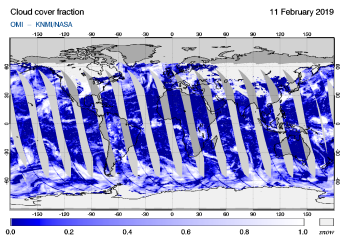 OMI - Cloud cover fraction of 11 February 2019