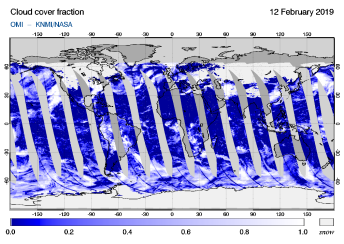 OMI - Cloud cover fraction of 12 February 2019