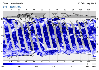 OMI - Cloud cover fraction of 13 February 2019