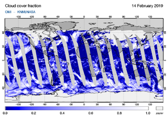 OMI - Cloud cover fraction of 14 February 2019