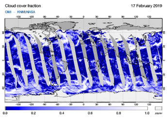 OMI - Cloud cover fraction of 17 February 2019