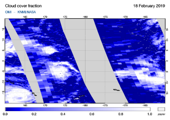 OMI - Cloud cover fraction of 18 February 2019