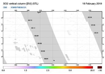 OMI - SO2 vertical column of 18 February 2019