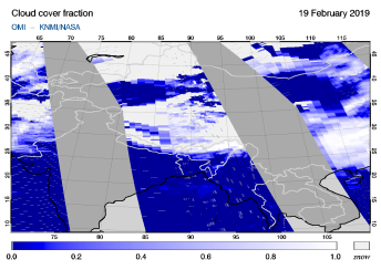 OMI - Cloud cover fraction of 19 February 2019