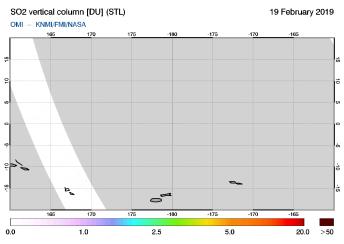 OMI - SO2 vertical column of 19 February 2019
