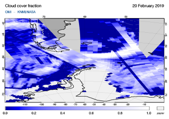 OMI - Cloud cover fraction of 20 February 2019