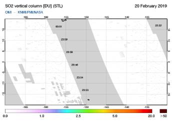 OMI - SO2 vertical column of 20 February 2019