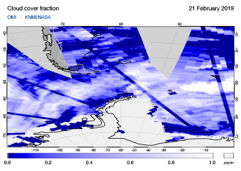 OMI - Cloud cover fraction of 21 February 2019