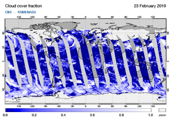 OMI - Cloud cover fraction of 23 February 2019