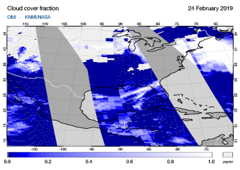 OMI - Cloud cover fraction of 24 February 2019