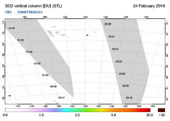 OMI - SO2 vertical column of 24 February 2019
