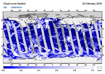 OMI - Cloud cover fraction of 25 February 2019