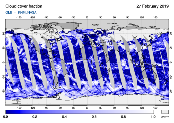 OMI - Cloud cover fraction of 27 February 2019