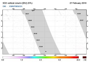 OMI - SO2 vertical column of 27 February 2019