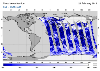 OMI - Cloud cover fraction of 28 February 2019
