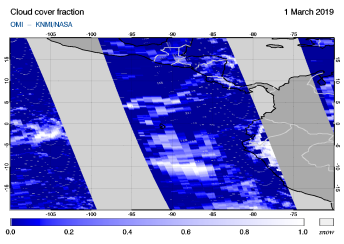 OMI - Cloud cover fraction of 01 March 2019