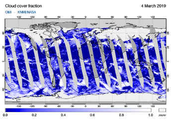 OMI - Cloud cover fraction of 04 March 2019