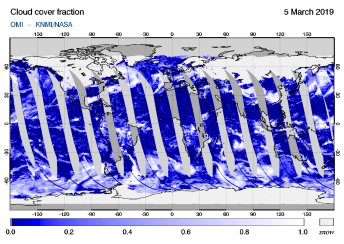 OMI - Cloud cover fraction of 05 March 2019