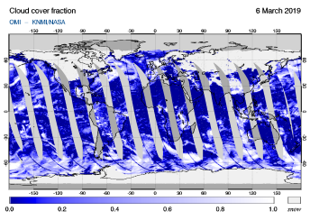 OMI - Cloud cover fraction of 06 March 2019
