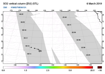 OMI - SO2 vertical column of 06 March 2019