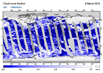 OMI - Cloud cover fraction of 08 March 2019