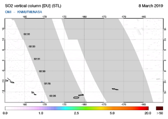 OMI - SO2 vertical column of 08 March 2019