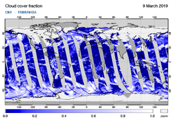 OMI - Cloud cover fraction of 09 March 2019