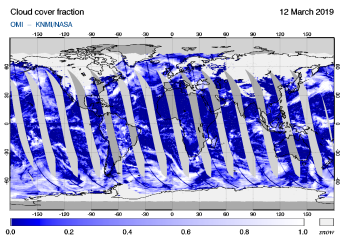 OMI - Cloud cover fraction of 12 March 2019