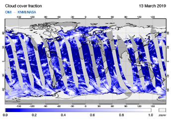 OMI - Cloud cover fraction of 13 March 2019