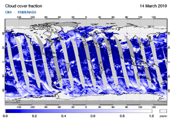 OMI - Cloud cover fraction of 14 March 2019
