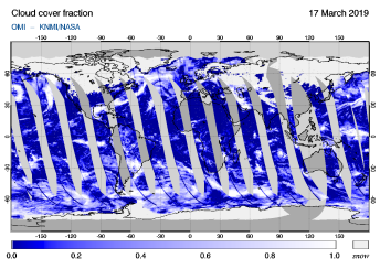 OMI - Cloud cover fraction of 17 March 2019