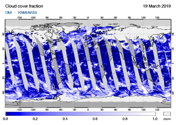 OMI - Cloud cover fraction of 19 March 2019