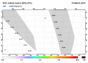OMI - SO2 vertical column of 19 March 2019