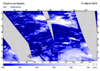 OMI - Cloud cover fraction of 21 March 2019