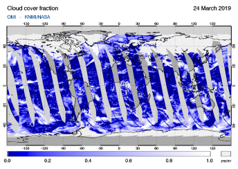 OMI - Cloud cover fraction of 24 March 2019