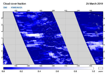 OMI - Cloud cover fraction of 25 March 2019