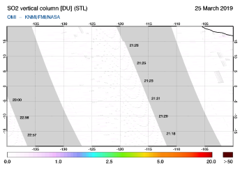 OMI - SO2 vertical column of 25 March 2019