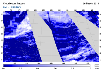 OMI - Cloud cover fraction of 26 March 2019