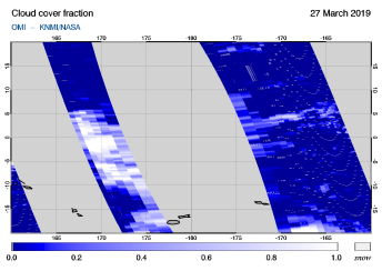OMI - Cloud cover fraction of 27 March 2019