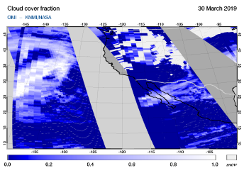 OMI - Cloud cover fraction of 30 March 2019